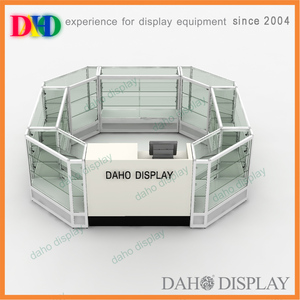 High quality shopping mall jewelry kiosk glass display showcase counters