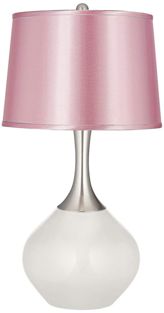 Winter White Satin Pale Pink Shade Spencer Table Lamp