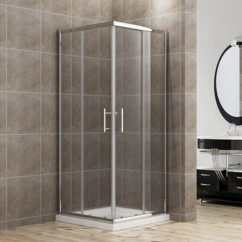 Waterproof Double Sliding Bathroom Corner Safety Glass Shower Door