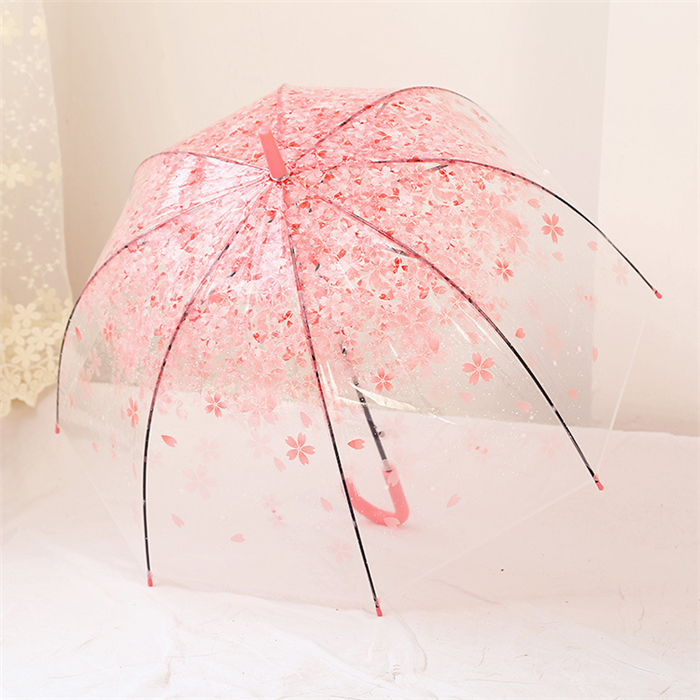Chinese Supplier Product Quality Cherry Blossom Transparent Clear Rain Umbrella Women's Auto Parasol Umbrellas