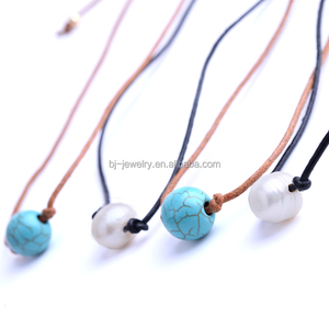 Hot Sell Fresh Water Pearl Turquoise Leather Rope Choker Jewelry Necklace