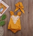 New Toddler Baby Girls Fly Sleeve Rompers with Headbands Lace Embroidery Halter Fashion Cute Girls Rompers