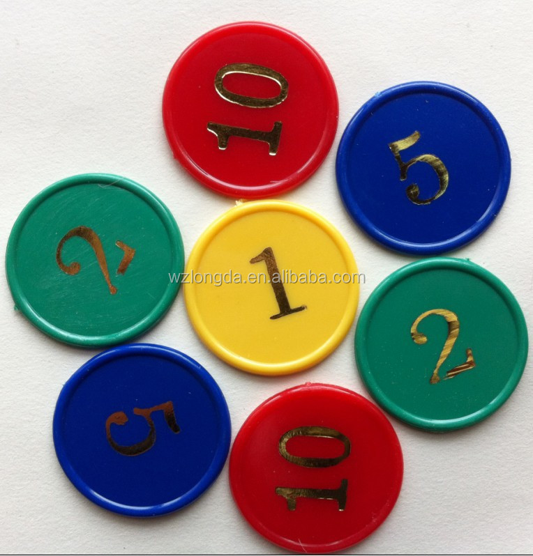 Colorful Plastic Game Coins Printed with digital symbols can be customized