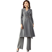 High Quality Women Striped Suits Two Piece Set Women Business Office Suits