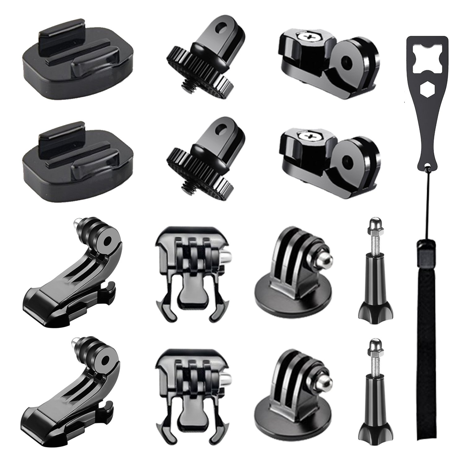 FollowSun 15-in-1 Action Camera Accessories Kit for GoPro Hero/Session/Hero 6 5 4 3+ 3 2 1, Tripod Mount Adapter, Buckle Clip Base Mount, J-Hook Buckle, Thumb Screws and Universal Conversion Adapters