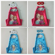 YS Frozen Snow Queen Superhero Cape and Mask Costumes, Children Dress Up Gift