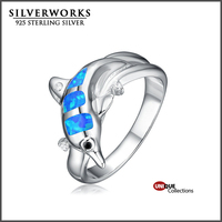 Unique Design Women Opal Jewelry, Dolphin Shaped Silver 925 Blue Opal Ring