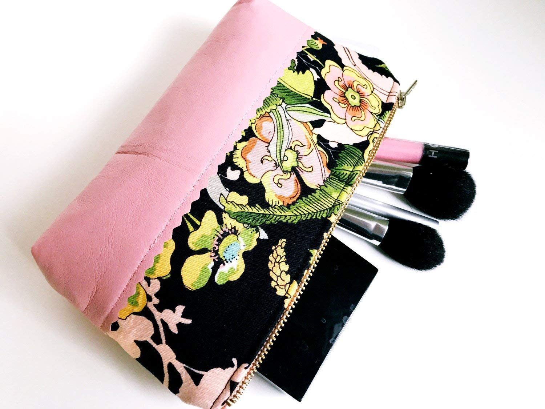 Greenwich Pink Leather Makeup Bag, Cosmetic Bag, Toiletries Bag, Floral Makeup Bag