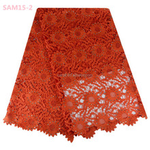 Eco-friendly Knitted Chemical Embroidery Rhinestones Lace Fabric Orange