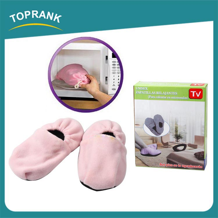Hot sale indoor slippers therapy unisex plush warm heated microwave slippers