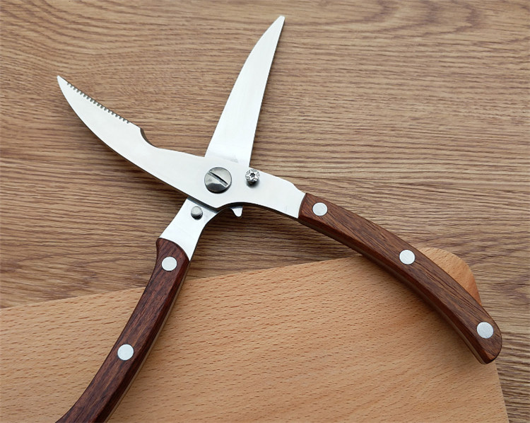 Stainless steel with wooden handle scissors for kitchen   types of kitchen scissors