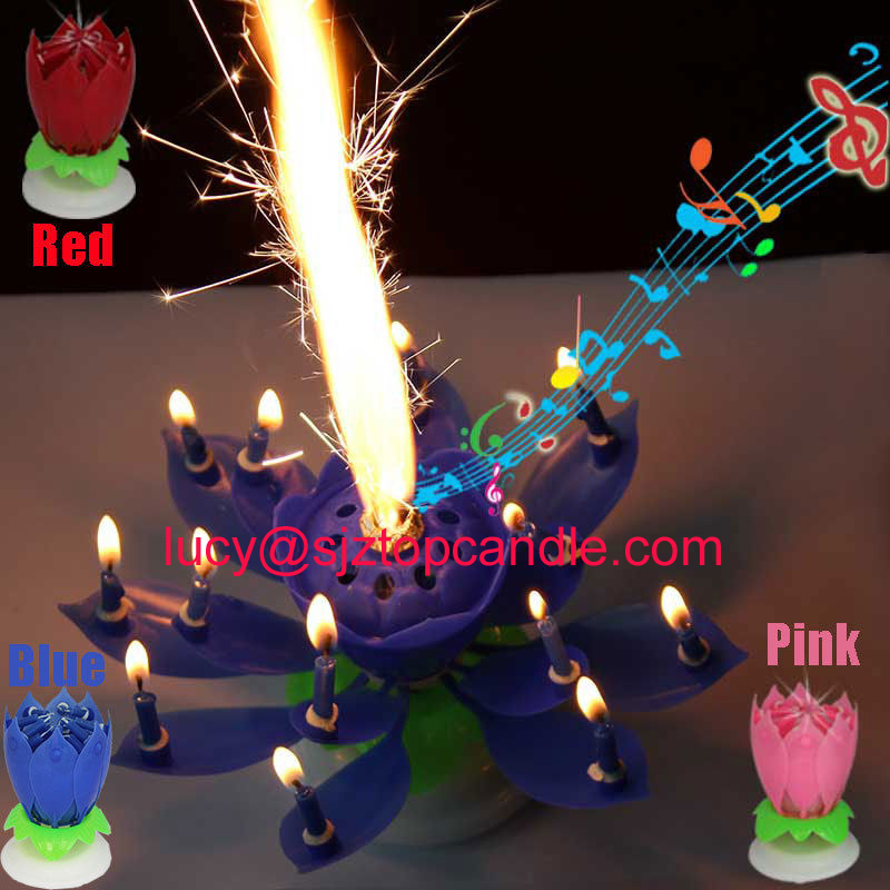 Intelligent Multi Colors Musical Blossom Lotus Flower Rotatable Birthday Candles