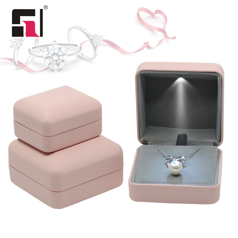 Pink jewelry package leather box with LED lighting