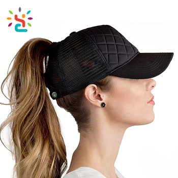 Custom embroidery patch ponytail baseball cap plaid quilted cotton and mesh  hat 6 panel truck women 2825e36b3c3