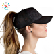 Custom embroidery patch ponytail baseball cap plaid quilted cotton and mesh hat 6 panel truck women sport caps