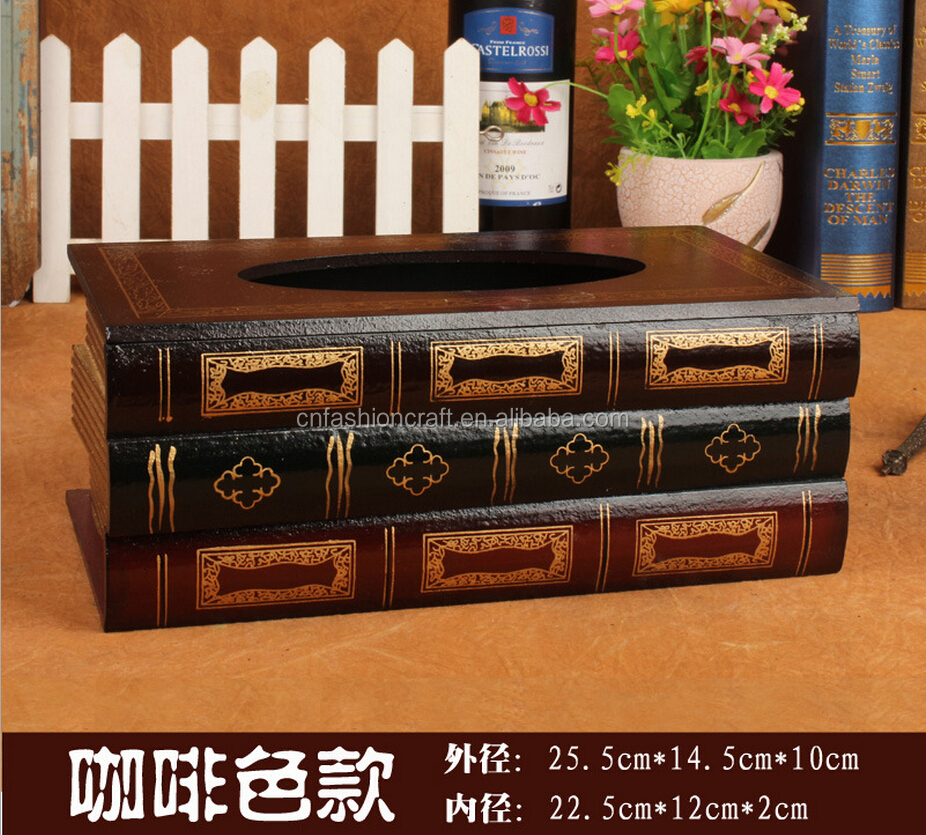 2020  Hotel Household Use Wood Novelty  new  Europe design Book Tissue Box factory direct sale