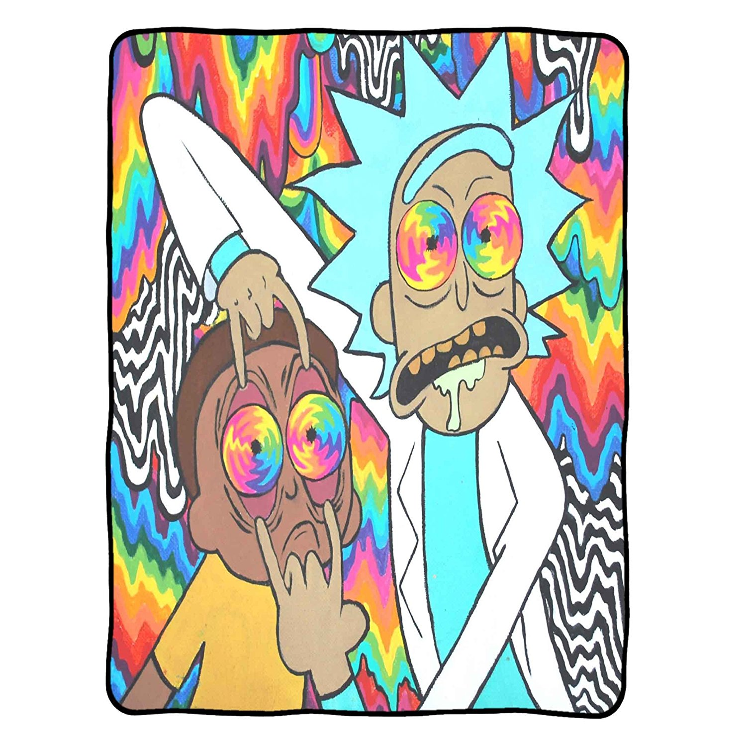 """Rick And Morty - Open Your Eyes Morty Blankets Size 40"""" x 50"""""""