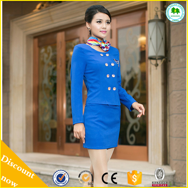 2015 Hot Sale Uniform Airline, Air Hostess Saree for Air Hostess