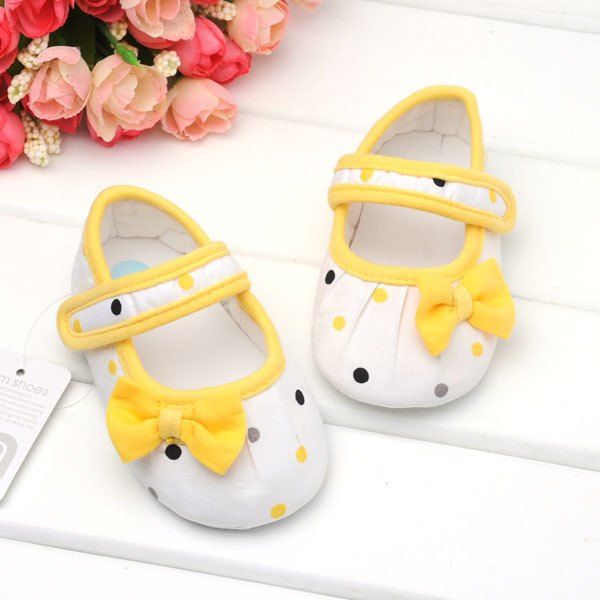 2015 Spring yellow bow dot Princess baby girls shoes baby shoes soft bottom, cute lovely girls infant toddler shoes baby shoes