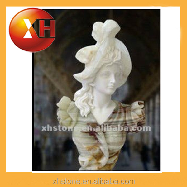 Hand carved female mannequin head and plaster bust statue