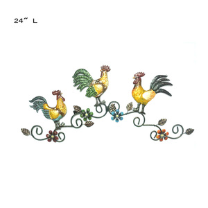 Metal Rooster Wall Art Trio Wall Decor Chicken Door decoration
