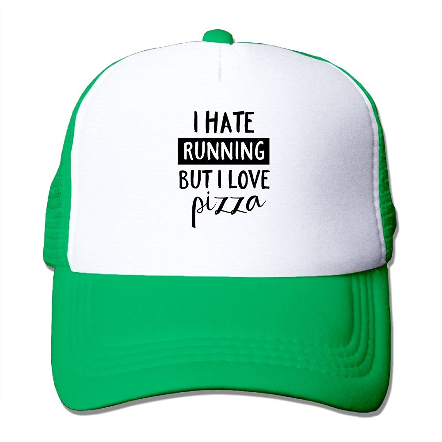 8bf674bdb2e78 Get Quotations · Crazy Popo Outdoor Sports Hat - I Hate Running But I Love  Pizza Adjustable Trucker Hat