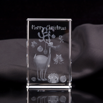 Customize Clear K9 Crystal Block Cube Ball Decorations Glass 3d Laser Engraved Crystal Christmas Snowman
