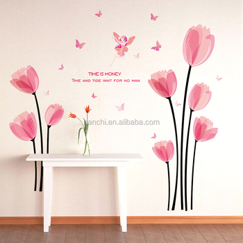 Time Is Money Pink Angel And Flowers Wall Stickers For Bedroom Sofa Office Girls Rooms Decoration Inspirational Proverb Decal Buy Time Is Money Pink