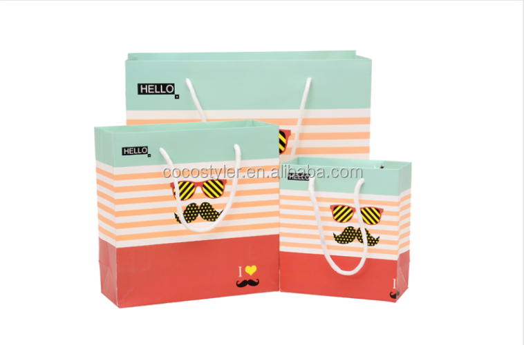 Expression stripes printed cheap kraft paper bags