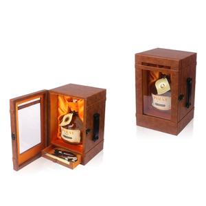 Wooden high-class round bottle wine glass display box,wine glass gift box