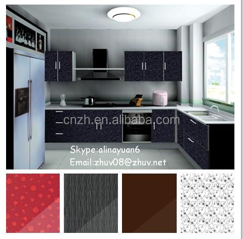 Warna Merah Acylic Dapur Kabinet Dengan Pintu Kaca Buram Hardware Blum Perabot