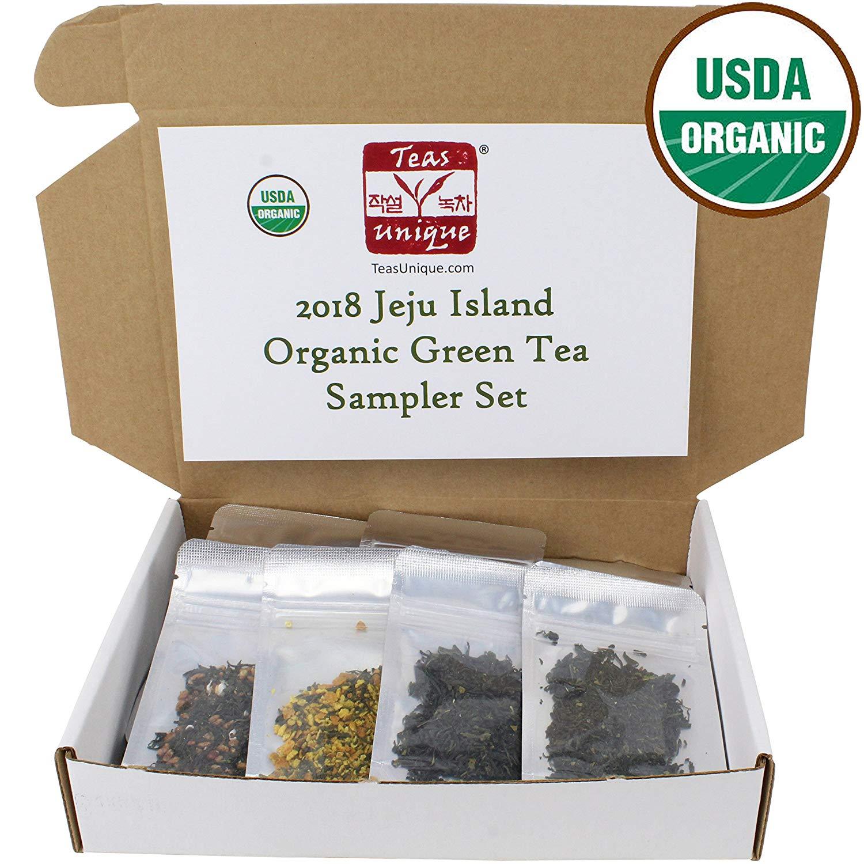 Teas Unique 2018 Korean Jeju Island Organic Green Tea Sampler Box, 12 Loose Leaf Teas, 60g