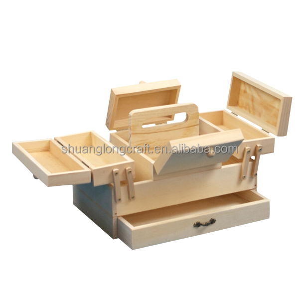 China Supplier Vintage Accordion Wooden Sewing Box On Legs