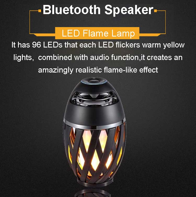 LED Flame Speaker, Wireless 5W 4 ohm Bass 8 Hours wireless speakers with lights TWS Table Lamp Outdoor Portable Speakers