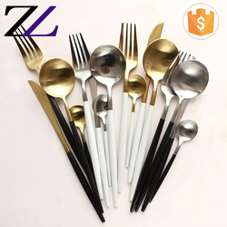 Restaurant buffet accessories spoons forks knives stainless steel wazirabad royal black handle matte gold cutlery set