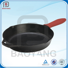 Customized powder coated cast iron cookware ,Red handle