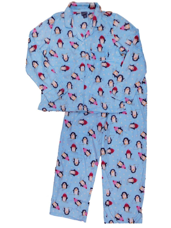 Get Quotations · Womens Skiing Penguin Bird with Hat Pajamas Notch Top  Fleece Sleep Set e248a0803