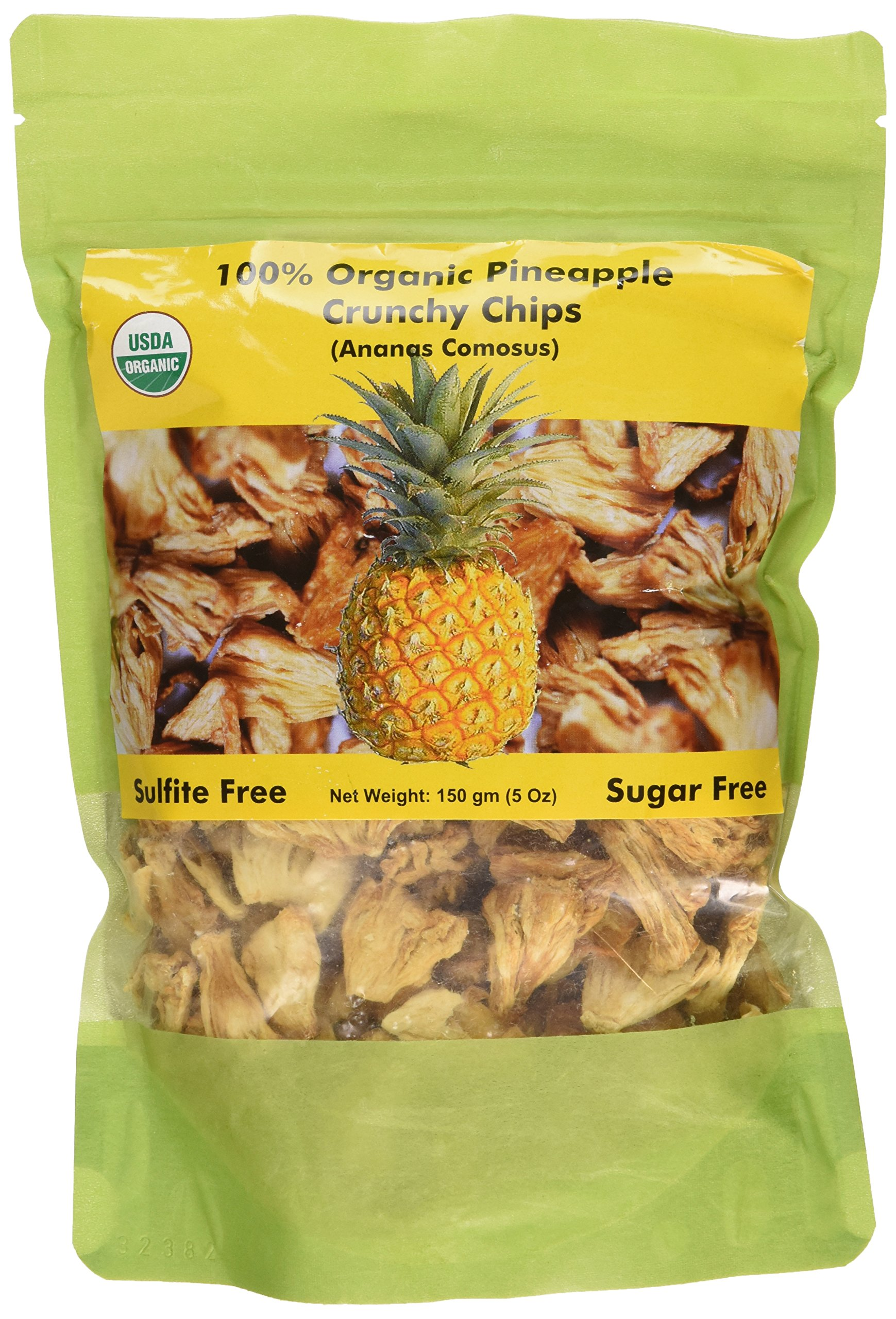 Indus Organics Pineapple Dried Crunchy Chips, 5 Oz (X3 of Bags), Sulfite Free, No Added Sugar, Freshly Packed