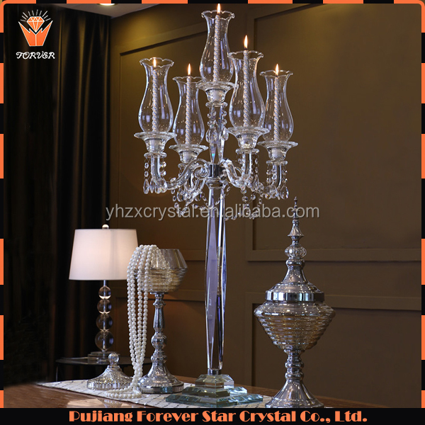 wholesale 5 arm tall decorative wedding table crystal candle candelabra centerpieces