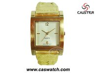 Gold ladies watch AVON style with PU leather strap in glod