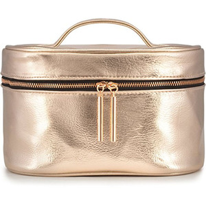 Professional manufacturer High quality rose gold vegan leather cosmetic makeup bag