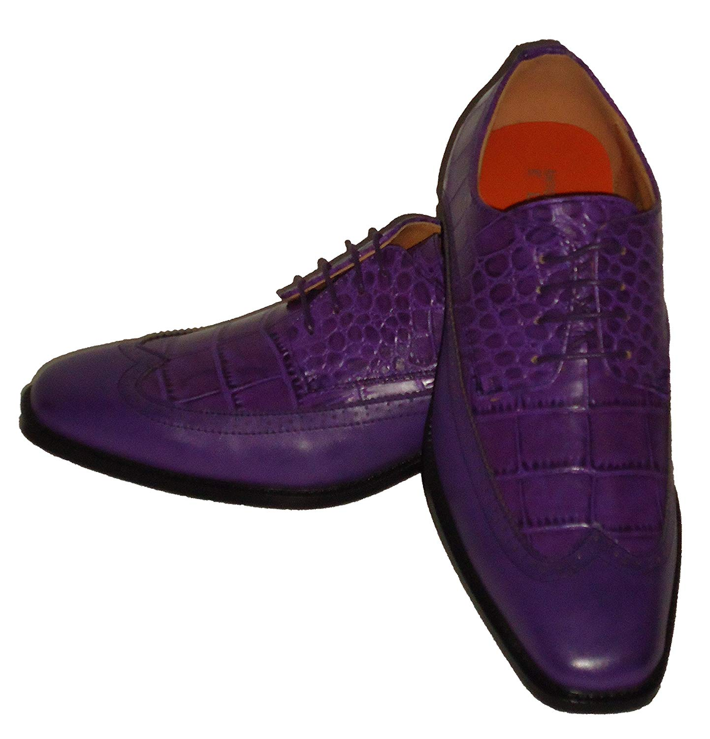 9832e2e59a3d40 Get Quotations · Antonio Cerrelli 6714 Mens Purple Croc-Look Fashion  Wingtip Dress Shoes