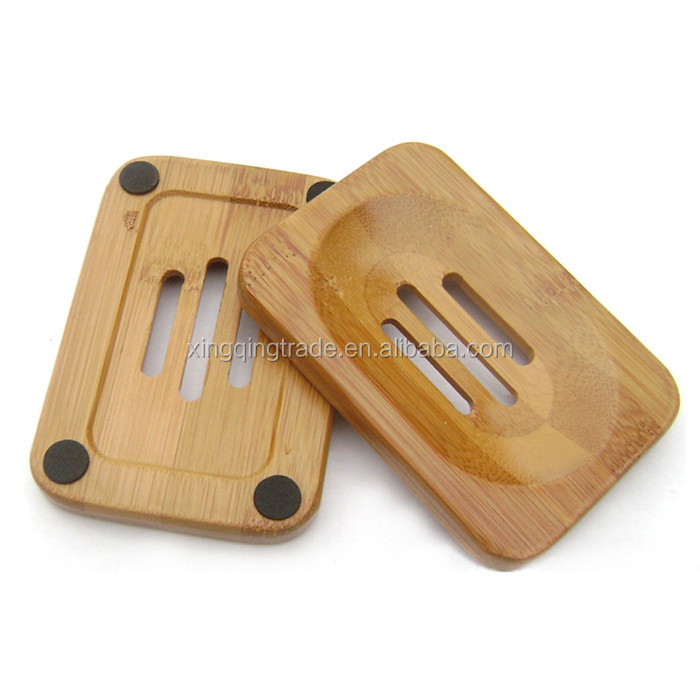 Natural Bamboo Wood Soap Dish Storage Holder Bath Shower Plate Bathroom