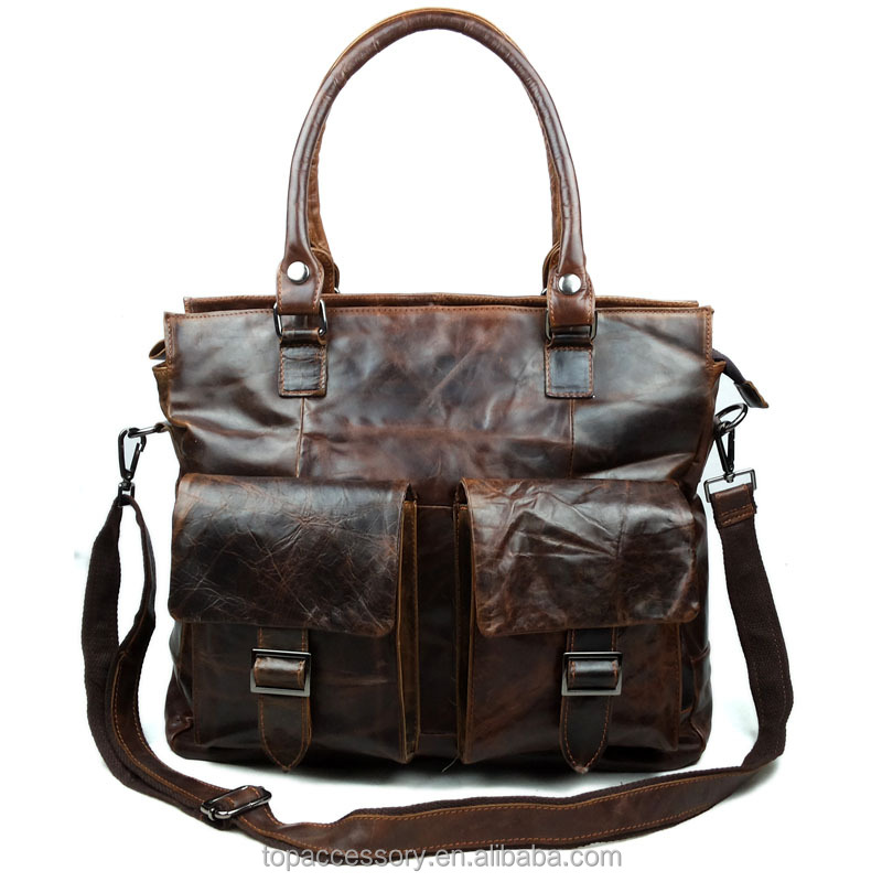 yiwu vintage oil tanned cowhide leather handbag for men