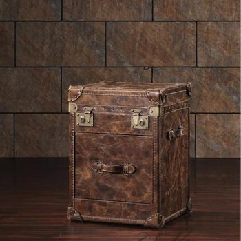 wood divider designs showcase Old Vintage Trunks Brown Leather Storage Accent Chest