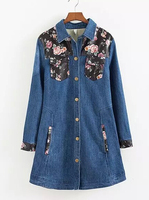 EY0563C New Arrivals wholesale printed/ 3D embroidered long women's denim coat