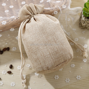 Custom small cheap plain burlap drawstring coffee bag round bottom gunny jute packing bag