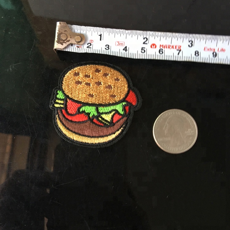 Remendo barato do Hamburger do bordado por atacado pequeno do alimento para o logotipo do chapéu da camisa