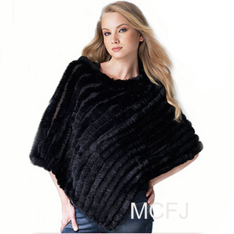 Natural rabbit fur poncho winter 2015 women new fashion knit genuine cloak fur shawl, wholesale and retail with free shipping