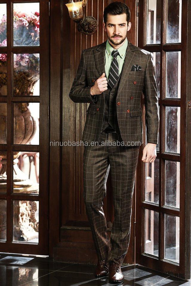 Professional Design Men Business Suits 2014 New Brown Check Men's ...